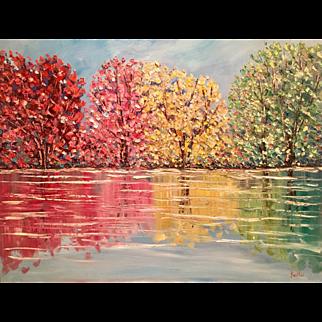 """Abstract Impasto Autumn Fall Trees Landscape"", Original Oil Painting by artist Sarah Kadlic, 30x40"""