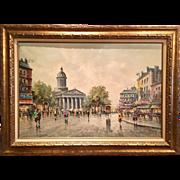 Vintage 1950s Mid Century Retro Antonio Devity Signed Original Oil Painting Paris Street Scene Gilt Period Wood Frame