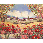 "Tuscany Red Pink Poppies Original Oil Painting by Artist Sarah Kadlic 30""x24"""
