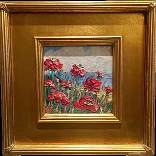 """Abstract Impasto Red Poppies"", Original Oil Painting by artist Sarah Kadlic"