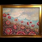 "Huge ""Abstract Wild Poppies"", 40x30"" Original Oil Painting Gilt Leaf Frame by Sarah Kadlic."