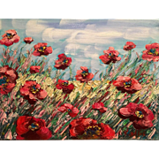 """Abstract Wild Poppies"", 12x16 Original Oil Painting by artist Sarah Kadlic."