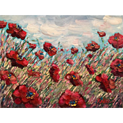 """Abstract Wild Poppies II"", Original Oil Painting by artist Sarah Kadlic"