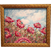 """""""French Wild Poppies"""", Original Oil Painting in Gilt Wood Frame by artist Sarah Kadlic"""