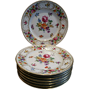 "Stunning Set of 8 Dresden (Dresdenart) 7.5"" Floral Plates with Gilt Edging - Red Tag Sale Item"