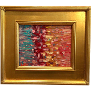 """Abstract Impasto Fade"", Original Oil Painting by artist Sarah Kadlic, 13x15"" Oil Painting with Gilt Frame"