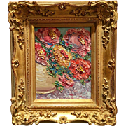 """Abstract Poppies in Vase"", Original Oil Painting by artist Sarah Kadlic, 8x10 Gilt Leaf Carved French Frame"