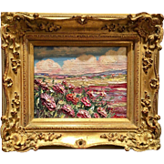 """Abstract Pink Wildflowers Landscape"", Original Oil Painting by artist Sarah Kadlic, 8x10"" Giltwood Framed"