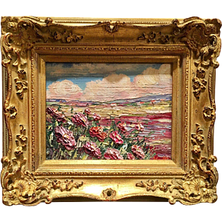 """""""Abstract Pink Wildflowers Landscape"""", Original Oil Painting by artist Sarah Kadlic, 8x10"""" Giltwood Framed"""