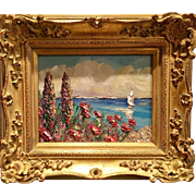 """Abstract Tuscan Wildflowers Seascape"", Original Oil Painting by artist Sarah Kadlic, 8x10"" French Giltwood Framed"