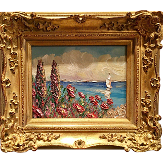 """""""Abstract Tuscan Wildflowers Seascape"""", Original Oil Painting by artist Sarah Kadlic, 8x10"""" French Giltwood Framed"""