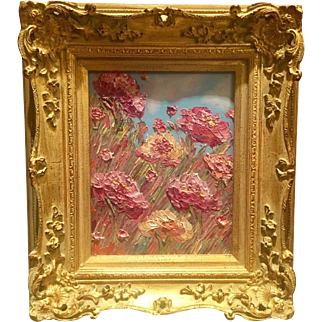 """Floral Wildflowers Abstract"", Original Oil Painting by artist Sarah Kadlic, 13x15'"" with Giltwood Carved Frame"