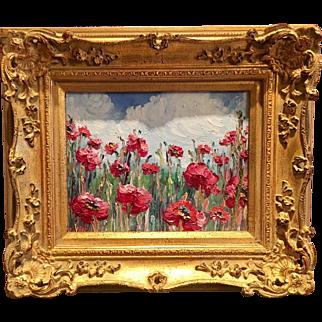 """Abstract Impasto Red Poppies"", Original Sarah Kadlic Oil Painting, 8x10"" Gilt Framed"