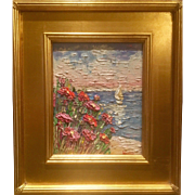"""Abstract Seascape Impasto"", Original Oil Painting by artist Sarah Kadlic, 8x10"" with Gilt Leaf Frame"