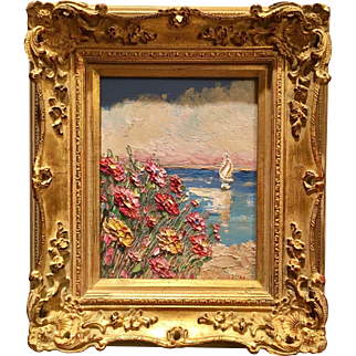 """""""Abstract Pink Wildflowers Seascape"""", Original Oil Painting by artist Sarah Kadlic, 8x10"""" French Gilt Frame"""