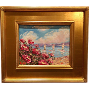 """Abstract Seascape Impasto"", Original Oil Painting by artist Sarah Kadlic, Gilt Leaf Wood 16"" Frame"
