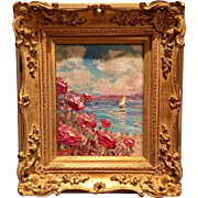 """Abstract Seascape Impasto"", Original Oil Painting by artist Sarah Kadlic, Gilt Leaf Carved FrenchFrame"