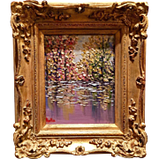 """""""Abstract Trees on the Water Landscape"""", Original Oil Painting by artist Sarah Kadlic, 8x10 +Gilt Leaf Frame"""