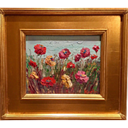 """Abstract Fields of Flowers"", Original Oil Painting by artist Sarah Kadlic, 8x10"" with Gilt Wood Frame"