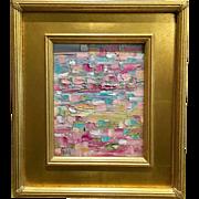 """Abstract Impasto of Color"", Original Oil Painting by artist Sarah Kadlic, 8x10"" + Gilt Wood Frame"