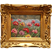"""Abstract Pink Wildflowers Seascape"", Original Oil Painting by artist Sarah Kadlic, 8x10"" Gilt Wood European Frame"