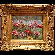"""Abstract Pink Wildflowers Seascape"", Original Oil Painting by artist Sarah Kadlic, 8x10"" Gilt Wood European Frame"