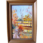 Chic Vintage Retro Mid Century Abstract Original Oil Painting on Panel Impasto Autumnal Fall Landscape, 11x7