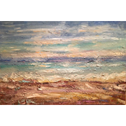 """Abstract Seascape in Beige & Blues"", Original Oil Painting by artist Sarah Kadlic, 36x24"""