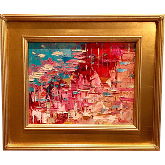 """Abstract Impasto of Color"", Original Oil Painting by artist Sarah Kadlic, 13x15"" Framed Gilt Wood"