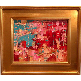 """Abstract Impasto of Color"", Original Oil Painting by artist Sarah Kadlic, 13x15"" with Gilt Frame"