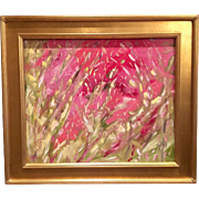 """Abstract Impasto Pinks & Green"", Original Oil Painting by artist Sarah Kadlic, 24x20"" with Gilt Frame"