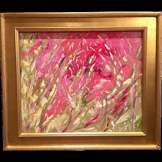 """Abstract Impasto Pinks & Green"", Original Oil Painting by artist Sarah Kadlic, 24x20"" with Gilt Frame"