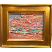 """Abstract Impasto of Color"", Original Oil Painting by artist Sarah Kadlic, 15x17"" Framed Gilt Wood"