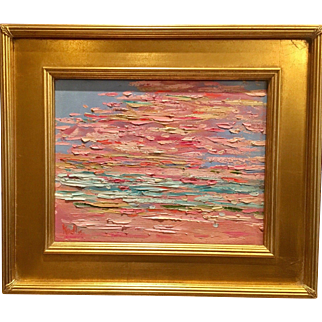 """Abstract Impasto of Color"", Original Oil Painting by artist Sarah Kadlic, 15x17"" Framed Gilt Wood"