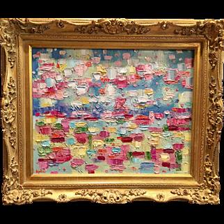 """Abstract Blues Impasto"", Original Oil Painting by artist Sarah Kadlic, 16""x20""+ Gilt Leaf Frame"