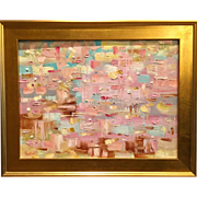 """Abstract Impasto with Pink Color"", Original Oil Painting by artist Sarah Kadlic, 24x18 Gilt Leaf Framed"