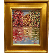 """Abstract Trees Landscape Impasto"", Original Oil Painting by artist Sarah Kadlic, 15x17"" Gilt Framed"