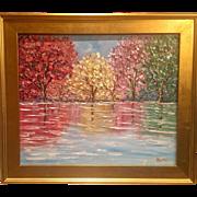 """Abstract Trees Impasto Reflections"", Original Oil Painting by artist Sarah Kadlic, 24""x20"" Gilt Frame"