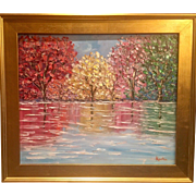 """Abstract Trees Impasto Reflections"", Original Oil Painting by artist Sarah Kadlic, 24""x20"" Gilt Frame"