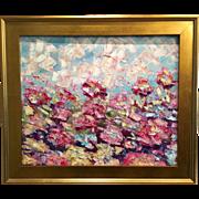 """Abstract Wild Flowers"", Original Oil Painting by artist Sarah Kadlic, 24x20"
