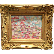 """Abstract Pink Impasto"", Original Oil Painting by artist Sarah Kadlic, 8x10"" Gilt Leaf Framed"