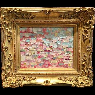"""Abstract Pink Impasto"", Original Oil Painting by artist Sarah Kadlic, 8x10"" Gilt Leaf Framed"