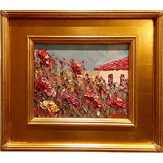"""Abstract Seascape Impasto"", Original Oil Painting by artist Sarah Kadlic, 8x10 With Gilt Leaf Plein Air Frame"
