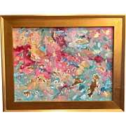 """Abstract Color Expressionism"", Original Oil Painting by artist Sarah Kadlic, 20x24 w/ Gilt Frame"