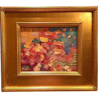 """""""Abstract Impasto Colors"""", Original Oil Painting by artist Sarah Kadlic, 8x10"""" with Gilt Leaf Frame"""
