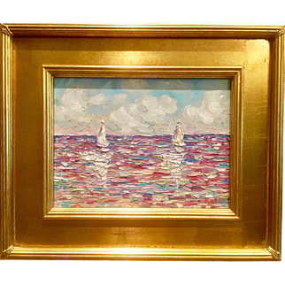 """Sailboats Reflections - Seascape Abstract"", Original Oil Painting by artist Sarah Kadlic, 13x17"" Gilt Framed"