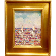 """Sailboats Seascape Reflections Abstract"", Original Oil Painting by artist Sarah Kadlic, Gilt Framed 13x17"