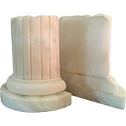 Lovely Vintage Estate Pair of Mid Century Hand Carved Alabaster Marble Bookends