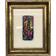 Mid Century Abstract Expressionist Mixed Media Painting Fine Art Gilt Painted Walnut Carved Frame