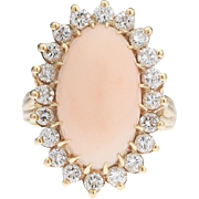 Stunning Elegant 1.00ctw Diamond and Large Angel Skin Coral Cabochon 14k gold Statement Cocktail Ring